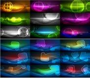 Комплект абстрактных неоновых накаляя волшебных предпосылок, темных сияющих предпосылок вектора с световыми эффектами для знамени бесплатная иллюстрация
