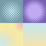 Комплект 4 абстрактных предпосылок с поставленным точки влиянием полутонового изображения стоковое фото