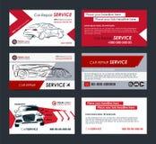 Комплект автомобильных шаблонов плана визитных карточек предприятия сферы обслуживания Создайте ваши собственные визитные карточк Стоковое Изображение RF