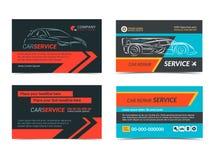Комплект автомобильных шаблонов плана визитных карточек ремонтных услуг Стоковое Фото
