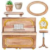 Комплект акварели мебели бесплатная иллюстрация