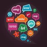 Комплект акронимов и аббревиатур на цветастой речи клокочет Иллюстрация штока