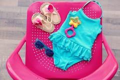 Комплект аксессуаров пляжа младенца Стоковая Фотография