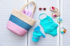Комплект аксессуаров пляжа младенца Стоковое Изображение RF