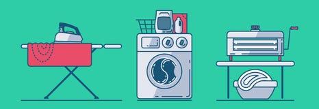 Комплект аксессуаров прачечной как утюг, утюжа доска, белье, стиральная машина, корзина, стиральный порошок, выжималка иллюстрация вектора