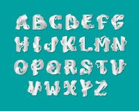 комплект алфавита origami 3d uppercase писем Изолированный вектором белый декоративный элегантный ABC письма Шрифт блокировать иллюстрация штока