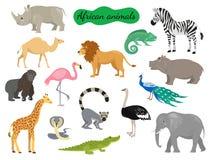 Комплект африканских животных на белой предпосылке иллюстрация штока