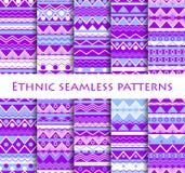 Комплект безшовного в этническом стиле Племенные ткани, стиль hippie Для обоев, постельное белье, плитки, ткани, предпосылки вект иллюстрация штока