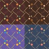 Комплект 4 безшовных картин вектора Стоковое Изображение