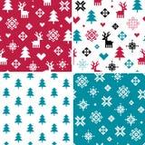 Комплект 4 безшовных картин пиксела зимнего отдыха Стоковая Фотография