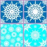 Комплект безшовных картин снежинки иллюстрация штока