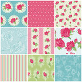 Комплект безшовных флористических предпосылок Rose Стоковое фото RF
