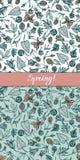Комплект безшовных prattern заводов леса для темы весны Geum Rivale, папоротники, морошки, деревянный фиолет вычерченная рука иллюстрация вектора