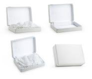 Комплект белой коробки от различных углов Стоковые Фотографии RF