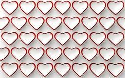 Комплект белых и красных сердец на белизне 3d представляют Стоковое Фото