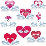 Комплект белых лебедей с сердцами, вектор иллюстрация штока