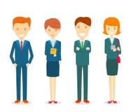 Комплект бизнесменов и характера коммерсанток в официально костюмах Иллюстрация штока