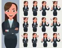 Комплект бизнес-леди Работник офиса с различными эмоциями и представлениями иллюстрация вектора