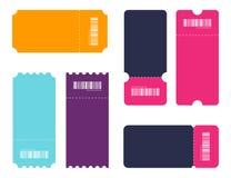 Комплект билета Билеты шаблона Собрание винтажных билетов grunge и талоны vector иллюстрации бесплатная иллюстрация