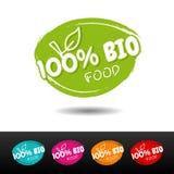 Комплект 100% био значков еды стоковое фото