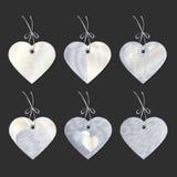 Комплект бирок в форме сердец Вышивка вектор Стоковое Изображение