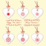 Комплект бирок рождества, ярлыков в форме сердца Стоковое Изображение