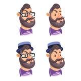 Комплект битников сторон людей вектора бородатых иллюстрация штока