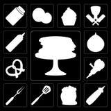 Комплект блинчиков, мустард, мука, шпатель, вилка, точильщик, крендель бесплатная иллюстрация