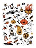 Комплект большого вектора красочный с элементами хеллоуина, включая тыквы, грибы, помадки, черепа, летучие мыши, отрава, призраки иллюстрация вектора