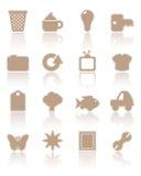 комплект бумаги 2 коричневый икон Стоковые Изображения