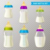 Комплект бутылок младенца прозрачный Стоковая Фотография