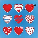 Комплект валентинок вектора сделанных 9 сердец Основа красит красный цвет и белизну иллюстрация штока