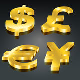 комплект валюты золотистый Иллюстрация вектора