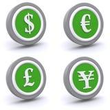 комплект валюты кнопки Стоковые Изображения