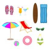 Комплект вектора аксессуаров пляжа в плоском стиле для вашего дизайна лета или праздника белизна изолированная предпосылкой Стоковые Изображения RF