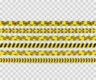 Комплект вектора безшовных лент предосторежения Предупреждающая лента, лента опасности, лента предосторежения, лента опасности, п иллюстрация вектора