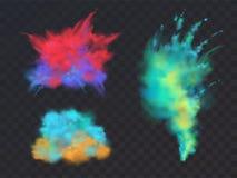 Комплект вектора взрывов порошка для фестиваля Holi стоковые фотографии rf