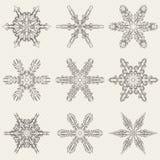 Комплект вектора винтажных снежинок Стоковое Фото