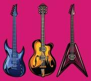 Комплект вектора гитар цвета электрических для дизайна плаката Стоковое фото RF