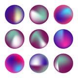 Комплект вектора голографических жидких кругов Стоковые Изображения RF