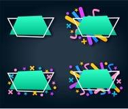 Комплект вектора голубого абстрактного геометрического знамени с покрашенным Мемфисом формирует Стоковая Фотография RF