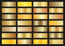 Комплект вектора градиентов золота на черной предпосылке Стоковое Изображение