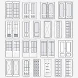 Комплект вектора дверей Собрание стилизованных межкомнатных дверей линейное искусство Стоковое Изображение RF