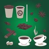 Комплект вектора деталей кофе Стоковые Изображения