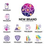 Комплект вектора дизайна логотипа лабораторий физики, биологии складывает, красит, знонит по телефону, stats, финансы, примечание иллюстрация вектора