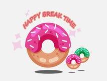Комплект вектора донута изолированный на белой предпосылке Собрание донута сладостные donuts замороженности сахара иллюстрация вектора