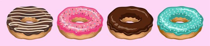 Комплект вектора донута изолированный на вид спереди Собрание донута сладостные donuts замороженности сахара период отдыха с белы бесплатная иллюстрация