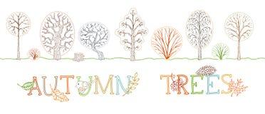 Комплект вектора законспектированных деревьев осени на белой предпосылке Стоковые Изображения