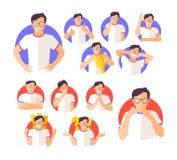 Комплект вектора значков выражения эмоций imperson мужских Стоковая Фотография