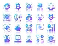 Комплект вектора значков градиента Bitcoin простой бесплатная иллюстрация
